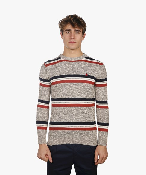 BKW012-L206 | Strip Slub Yarn Crew Neck Jumper