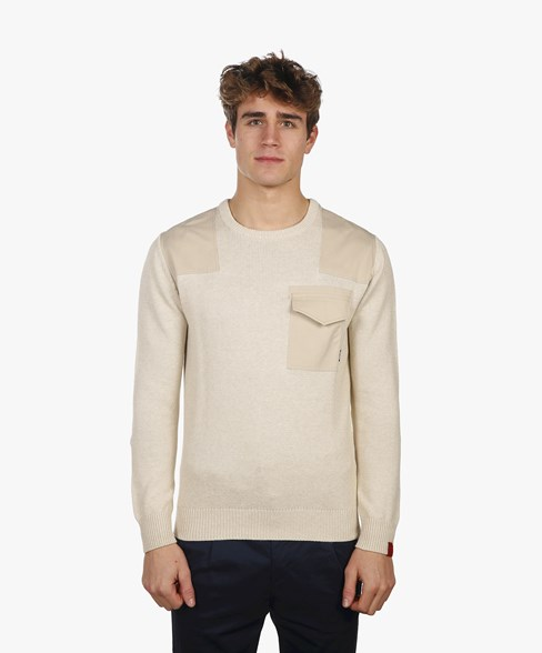 BKW002-L205S | Patched Crew Neck Jumper