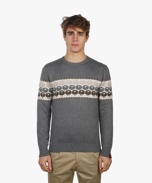 2002-BKW016-L204S | Sheep Knitted Crew Neck Jumper
