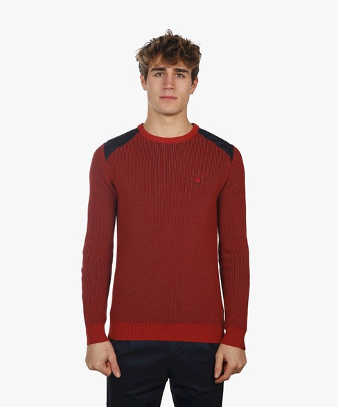 BKW004-L202 | Rib Patched Crew Neck Jumper