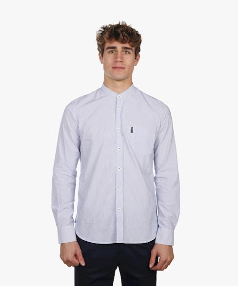 BSH010-C490 | Cotton Striped Shirt Mandarin Collar
