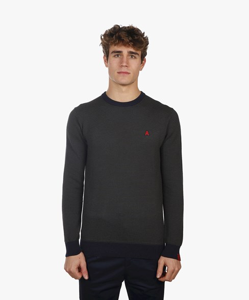 BKW021-L205S | Striped Crew Neck Jumper