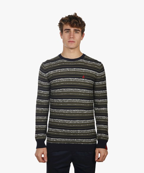 BKW018-L205S | Striped Crew Neck Jumper
