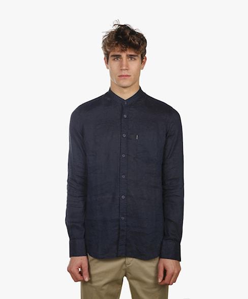 BSH010-C486 | Linen Shirt Mandarin Collar