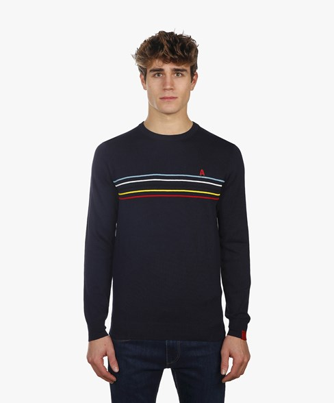 BKW003-L200S | Cycling Striped Crew Neck Jumper