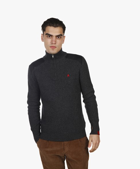 BKW053-L208 | 1/4 Zip Cotton-Wool Patched Knit