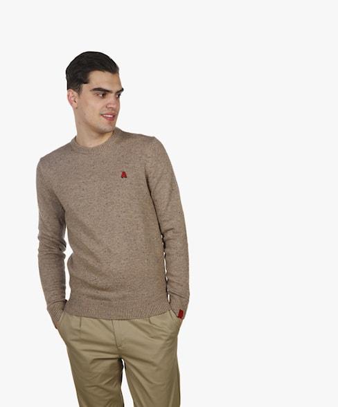 BKW099R-L209 | Neppy Yarn Basic Crewneck Knit