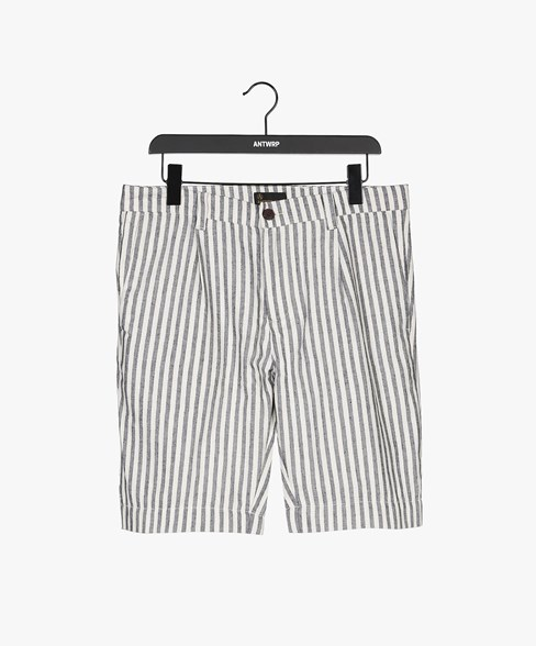 SCOTTIE-D205 | Striped Pleated Chino Shorts